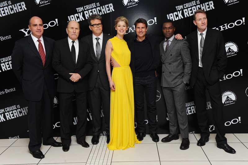 (L-R) Don Granger, Robert Duvall, Christopher McQuarrie, Rosamund Pike, Tom Cruise, David Oyelowo and Lee Child